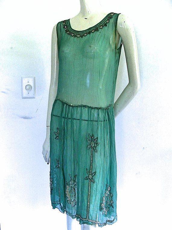 1920s Dress Vintage 20s Silk Chiffon Feather Print Dress Rust Bauhaus Deco Flapper Dress M  L