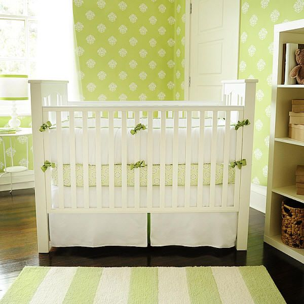 Beautiful Nursery Bedding | New Arrivals Inc. White Pique With Green Trim Crib Bedding  Set