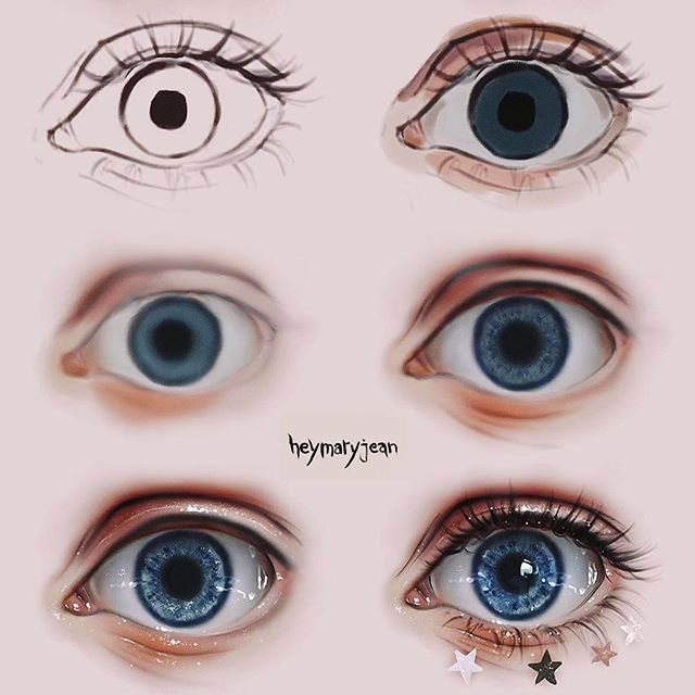 """Marzia Palomba on Instagram: """"Eyes, step by step ⭐️ swipe ⬅️ for the timelapse — What's your eyecolor? — Follow @heymaryjean for more — #digitalart #art #drawing #artist…"""""""