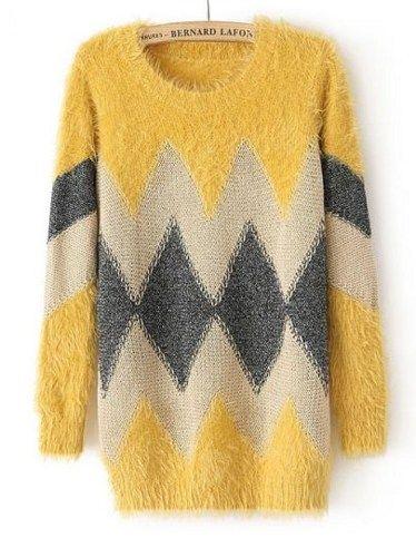 fd3b9d6f6a8f Fast Shipping Yellow Long Sleeve Geometric Pattern Knit Sweater ...