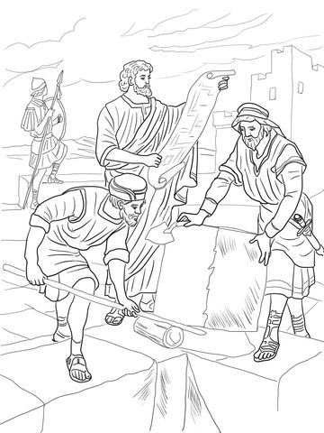 Nehemiah Rebuilding the Walls of Jerusalem Coloring page | Christian ...
