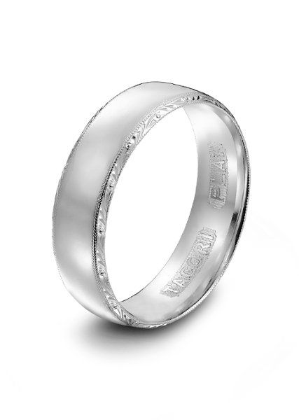 Tacori Mens Platinum Wedding BandTacori Slightly Rounded Band Featuring Signature Hand