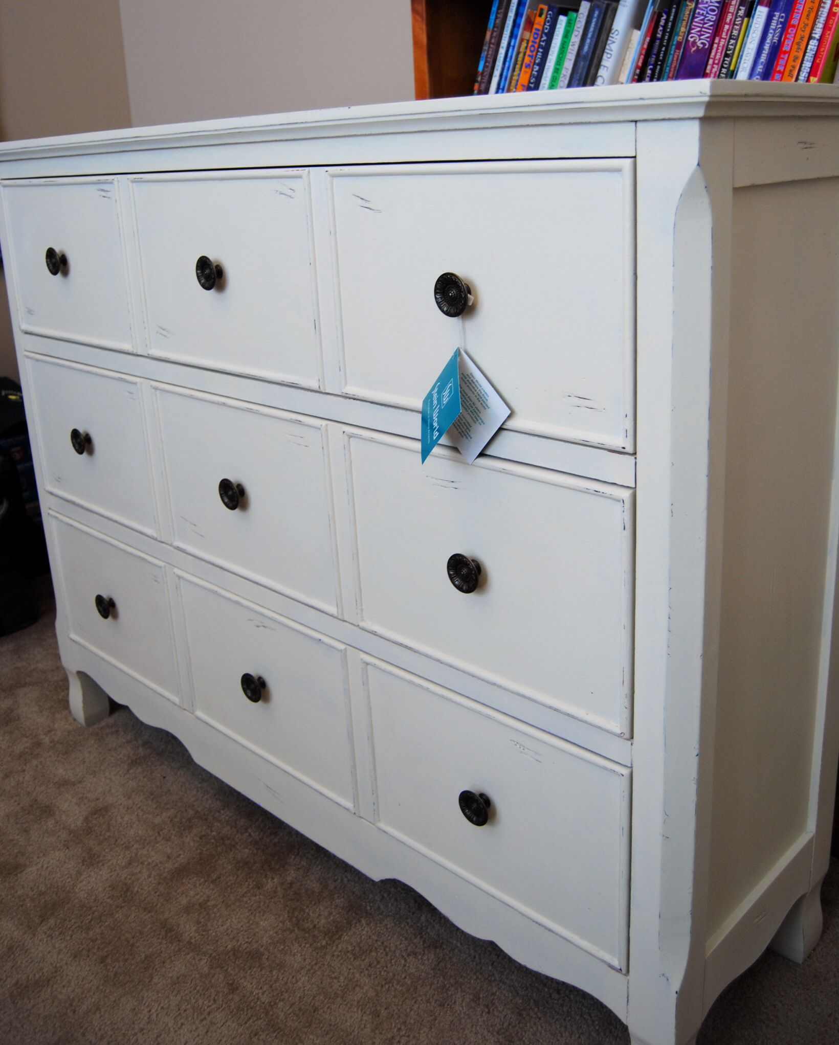 Annie Sloan Old White painted over a newly purchased RED dresser