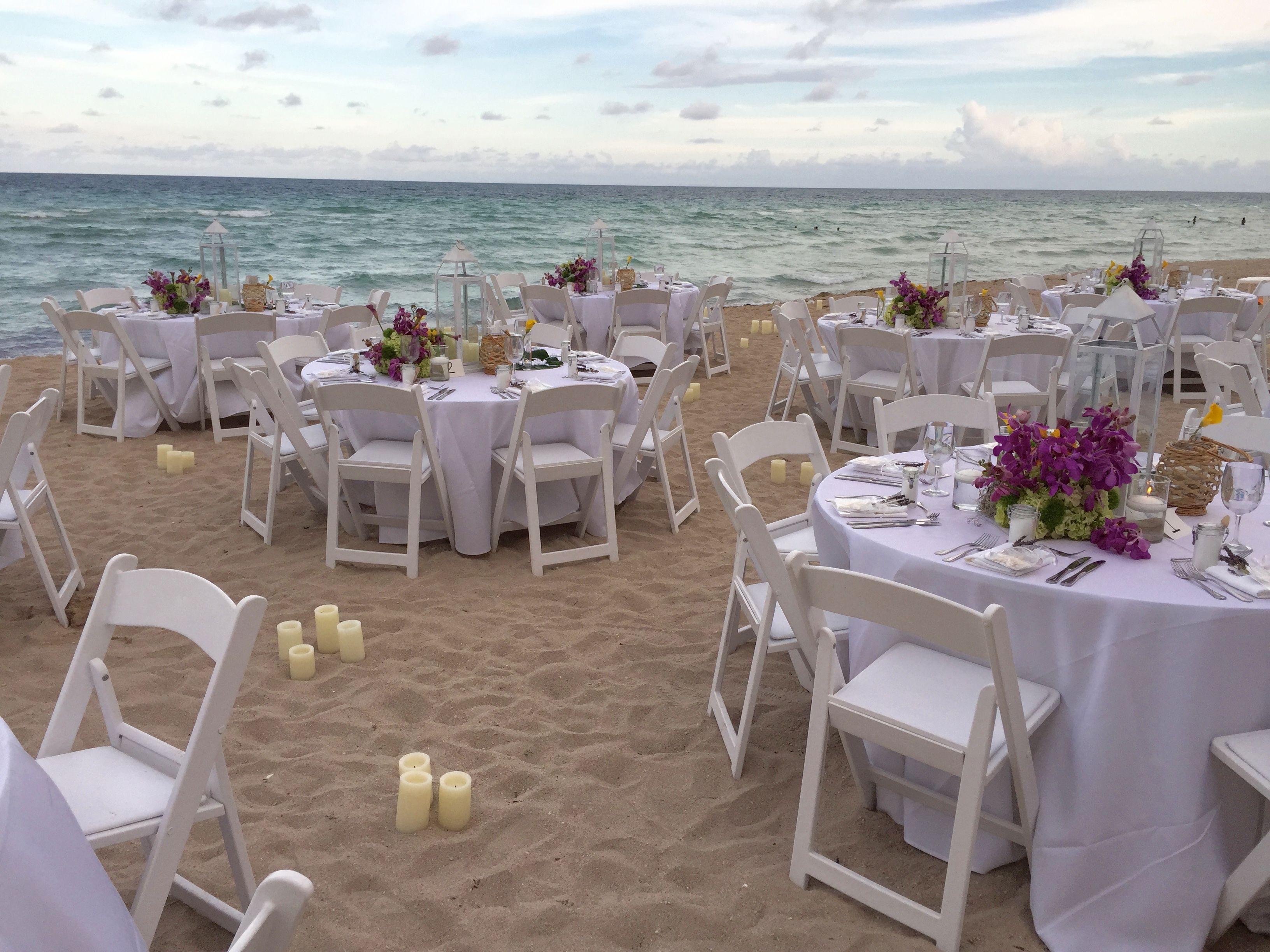 Beach wedding reception in Sunny Isles Beach at Solé on