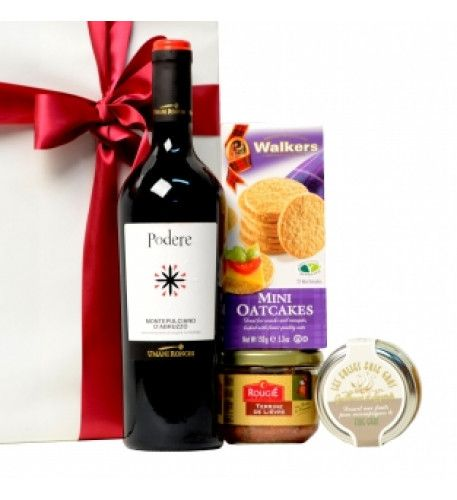 Aperitif package with Italian red wine A delicious aperitif package with red Italian wine, a French pâté, Scottish toasts and a special French confit.This original appetizer package contains different delicacies and two bottles of Italian wine.Gift package