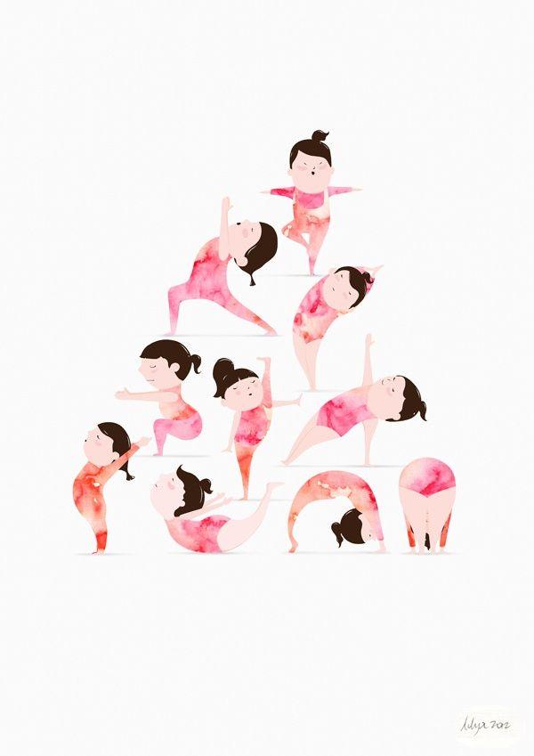 As posições da yoga retratadas de forma superfofa nesse desenho da ilustradora Lily X. #fofura #yoga #ilustração