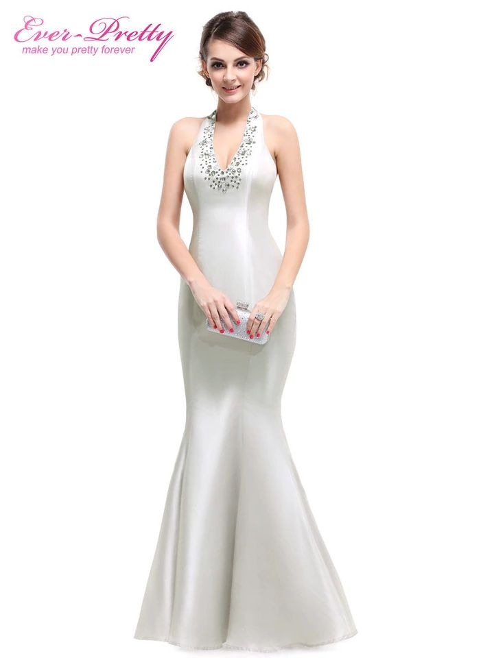 Evening Dress Silver Formal Mermaid Fishtail Evening Dress Elegant ...