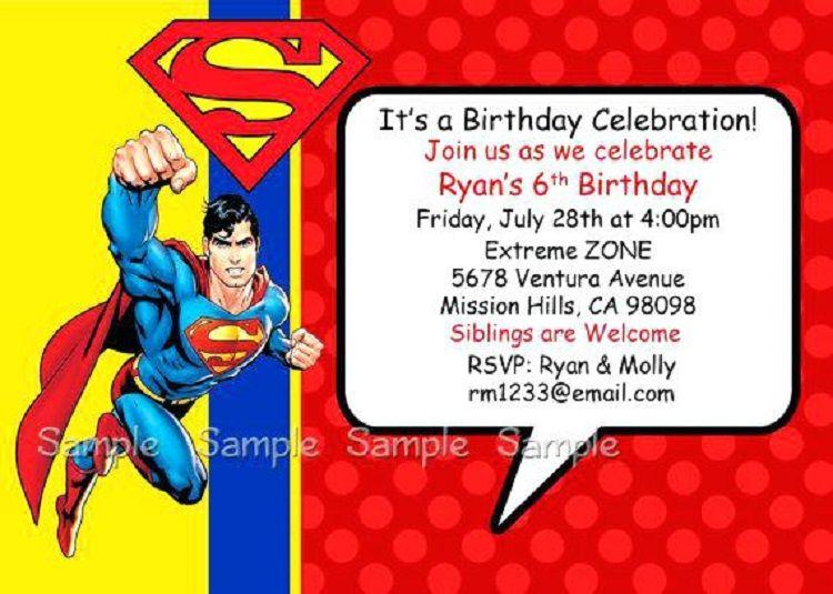 Superman Birthday Invitation Card Template