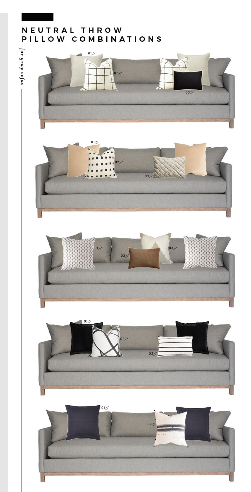 Neutral Throw Pillow Combinations for White and Gray Sofas - Room for Tuesday
