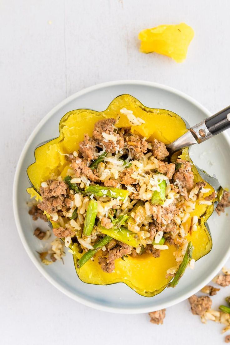 Stuffed Squash With Ground Beef And Rice Recipe Beef And Rice Delicious Dinner Recipes Fall Recipes Healthy