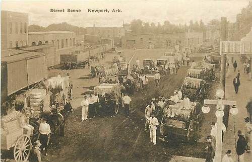 Newport Arkansas Street Scene Cotton Market Postcard