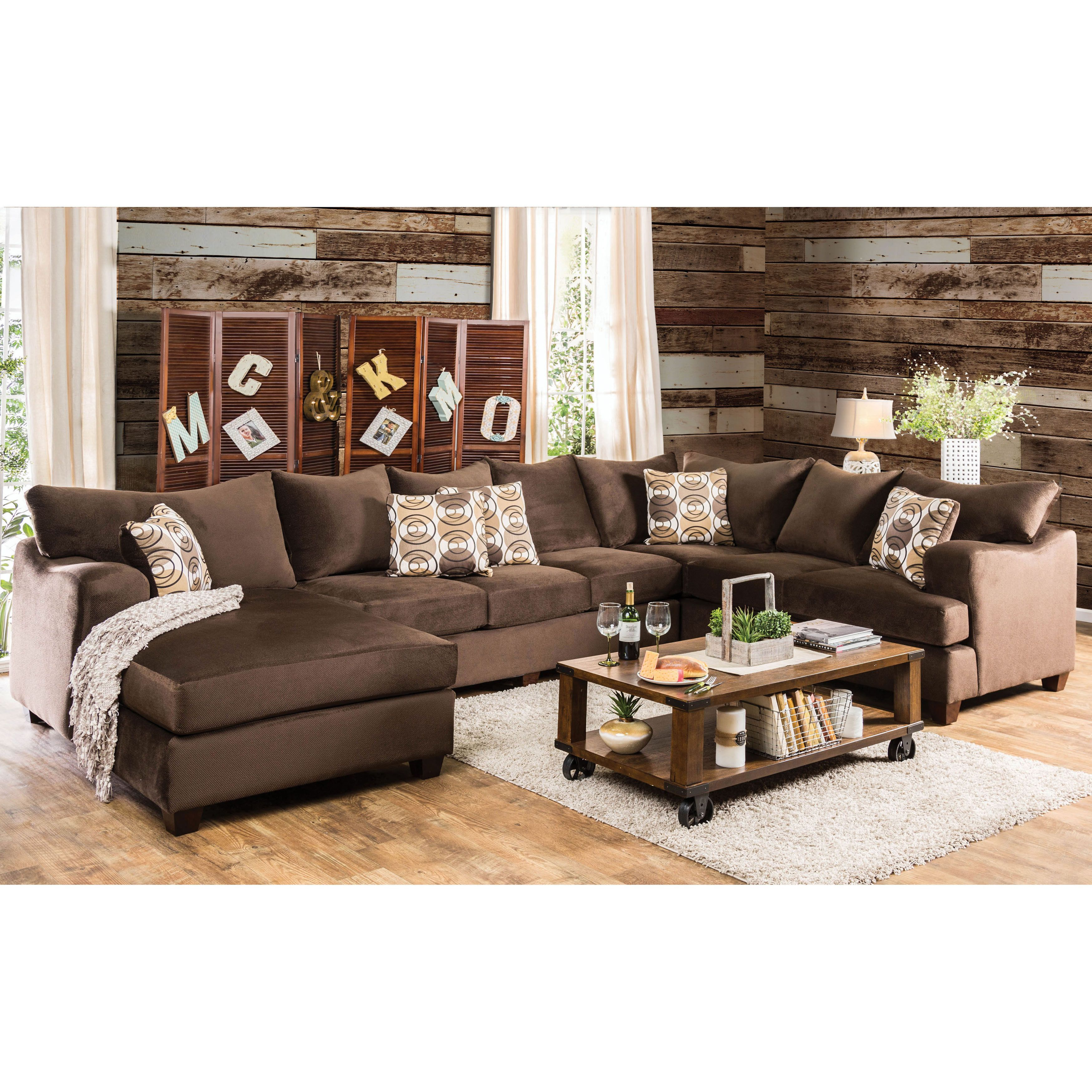 Furniture of America Horm Contemporary Brown Fabric 4-piece ...