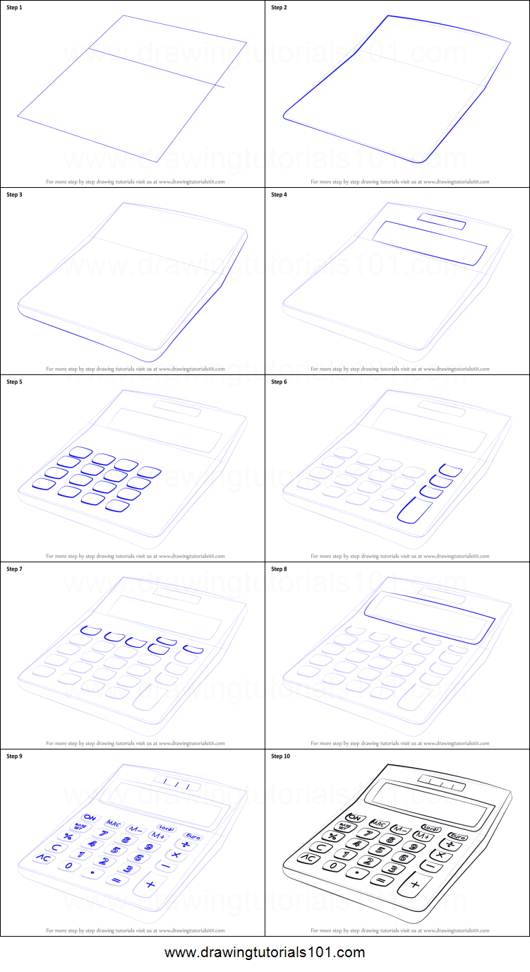 How To Draw A Calculator Printable Drawing Sheet By Drawingtutorials101 Com Drawing Sheet Design Art Drawing Room Perspective Drawing