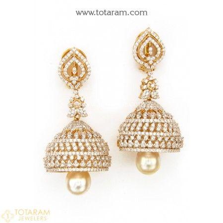 Diamond Earrings For Women Jhumkas Indian Gold