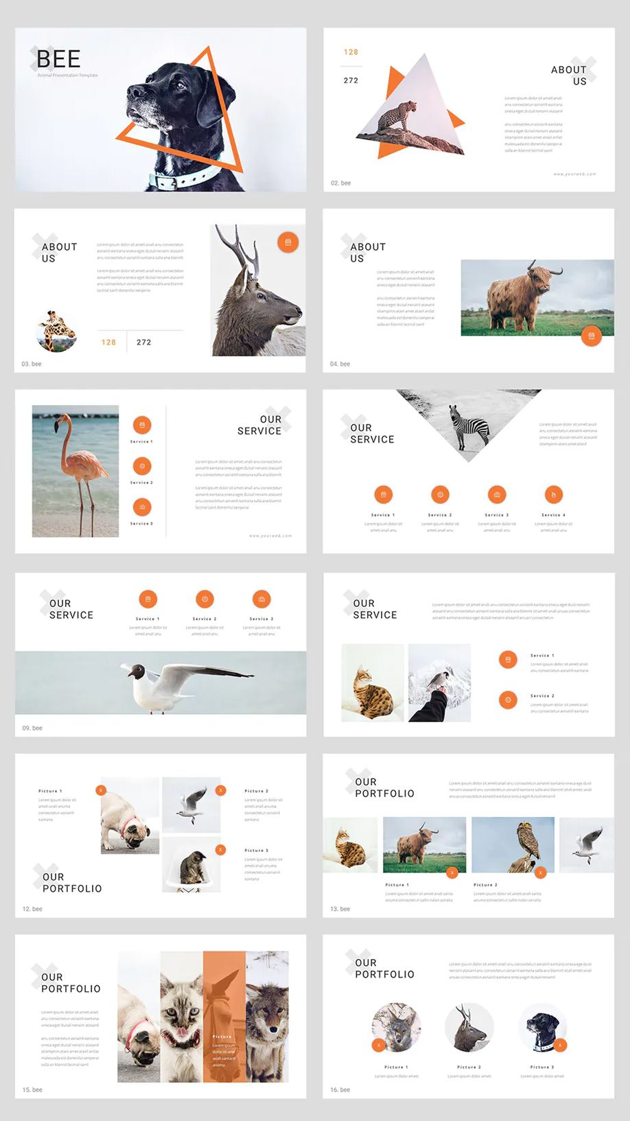 Bee - Animal PowerPoint Template - Design Template Place