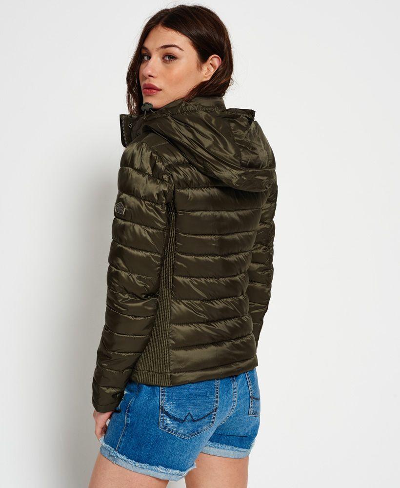 Womens Luxe Fuji Zip Hooded Jacket In Metallic Olive Superdry Womens Jackets Casual Summer Jackets Women Jackets [ 1000 x 820 Pixel ]