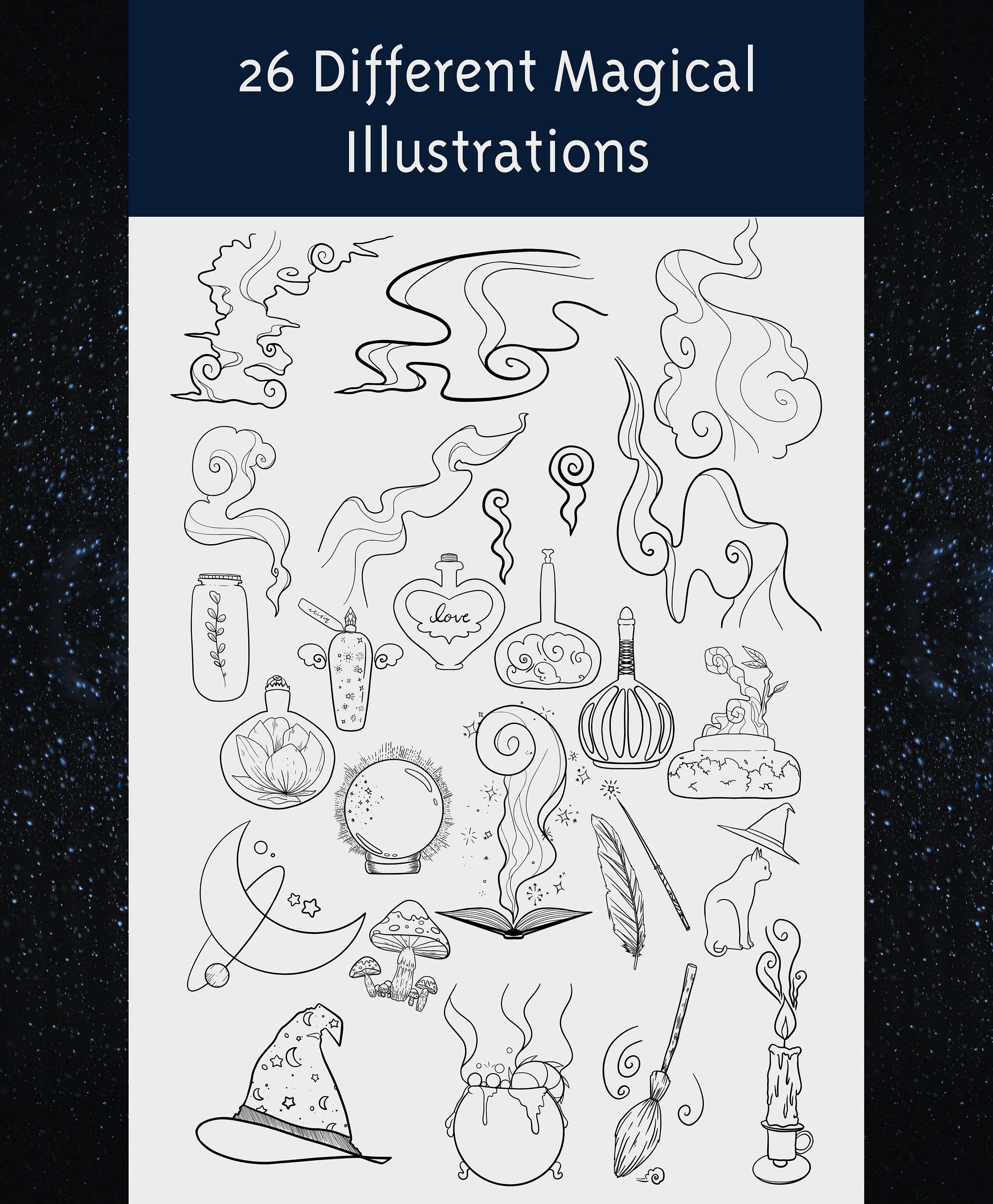 Magic Elements Clipart Illustrations Vector Star Moon Potions Etsy Clip Art Illustration Instagram Highlight Icons