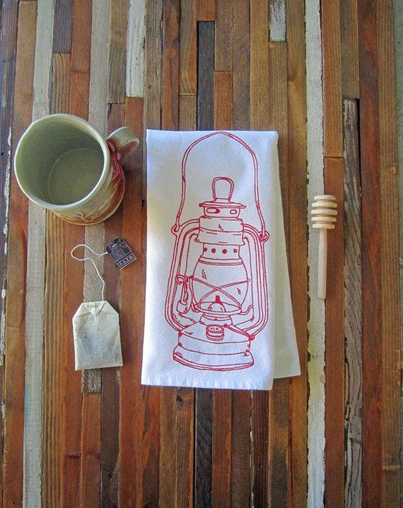 Cloth Napkins - Screen Printed Cloth Napkins - Eco Friendly Dinner Napkins - Vintage Lantern - Handmade - Camping - Cotton Cloth Napkins #clothnapkins