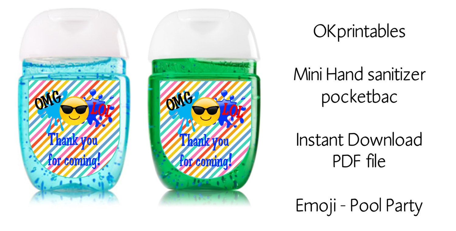 Emoji Pool Party Sanitizer Labels Emoji Hand Sanitizer Label 1oz