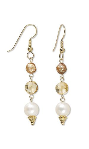 Jewelry Design - Earrings with Citrine Gemstone Beads and Cultured Freshwater Pearls - Fire Mountain Gems and Beads