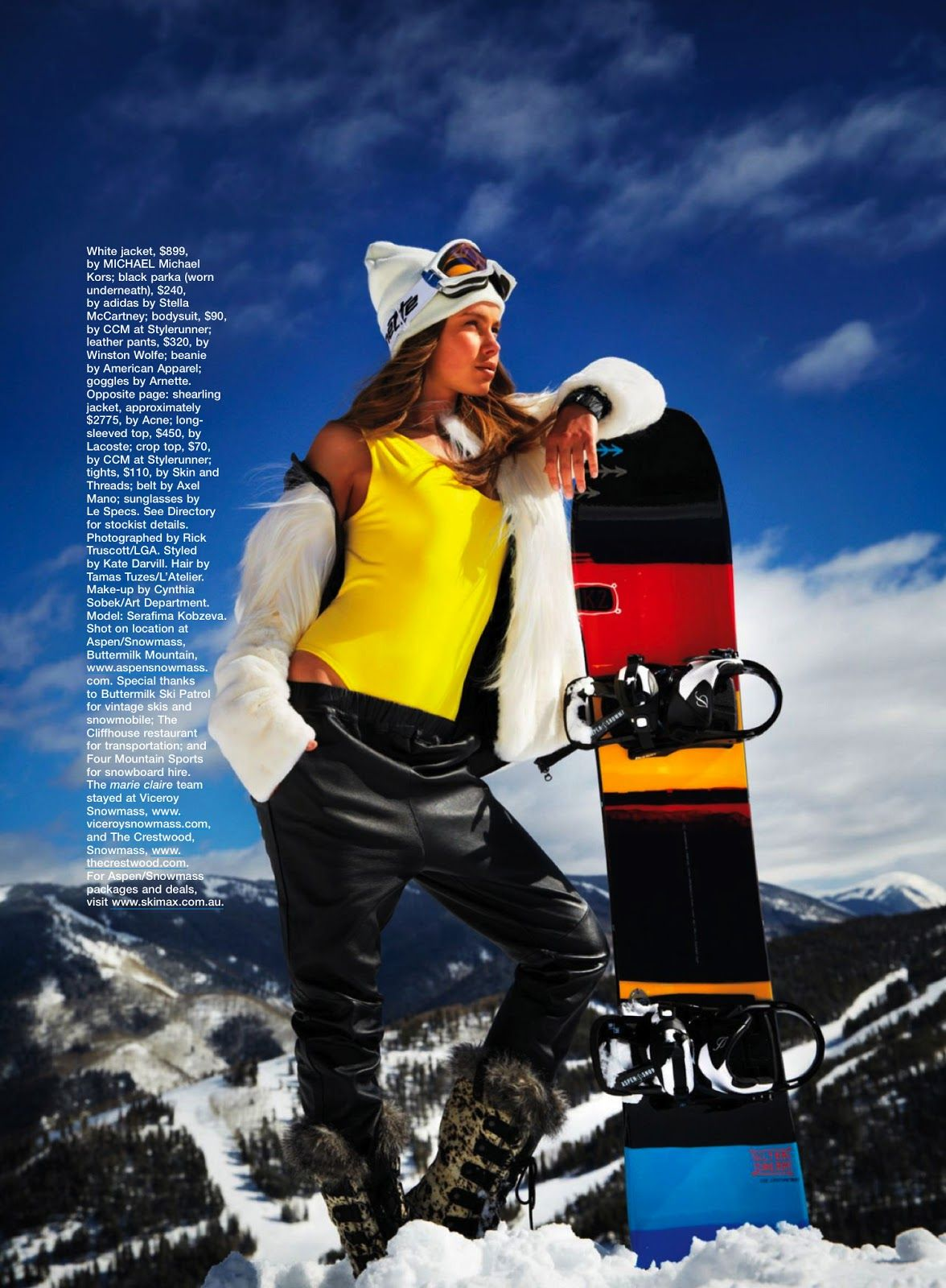 Ski Patrol Serafima Kobzeva By Rick Truscott For Marie Claire Australia July 2013 Visual Optim In 2020 Sports Fashion Editorial Marie Claire Australia Sport Fashion