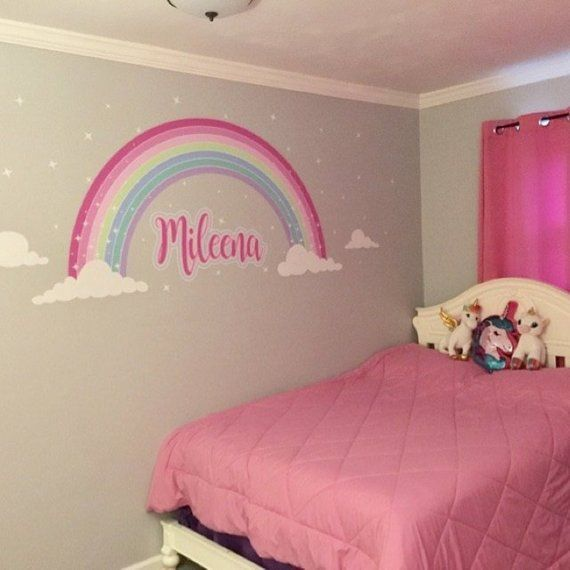Little Girl S Bedroom Decorating Ideas And Adorable Girly: Pink Sparkle Rainbow Fabric Wall StickerGirls Pink Rainbow