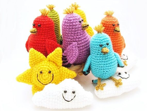 Crochet baby mobile with birds and clouds colorful by spikycake ...
