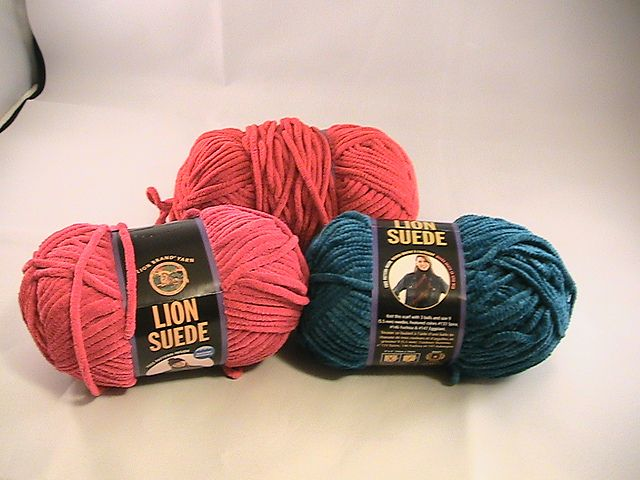 Lion Brand Lion Suede Solids - red, blue and pink. This ...