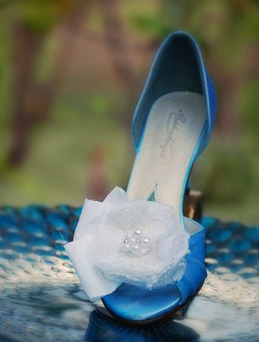 Wedding Lace Shoe Clips. White Ivory Black Pink by sofisticata