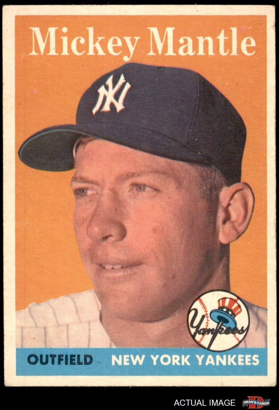 1958 topps 150 mickey mantle new york yankees baseball