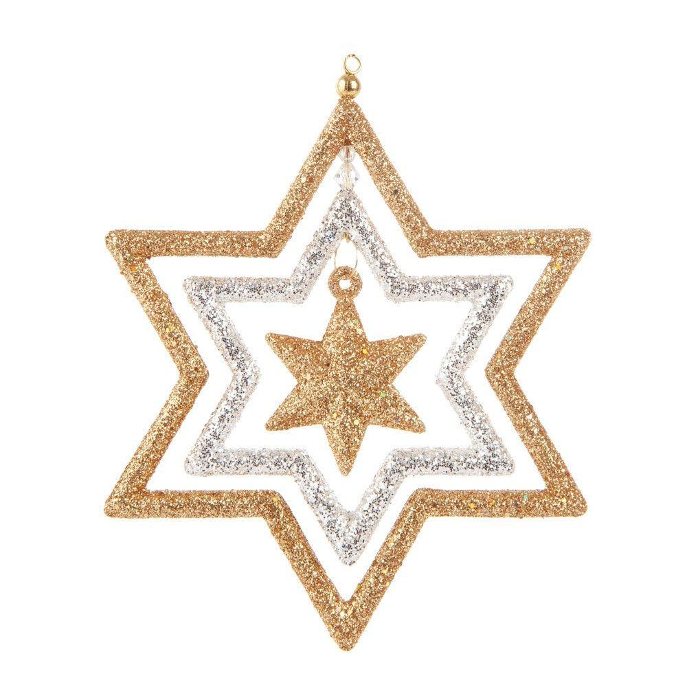 Déco étoile triple en plastique blanche et or H 13 cm | Maisons du Monde