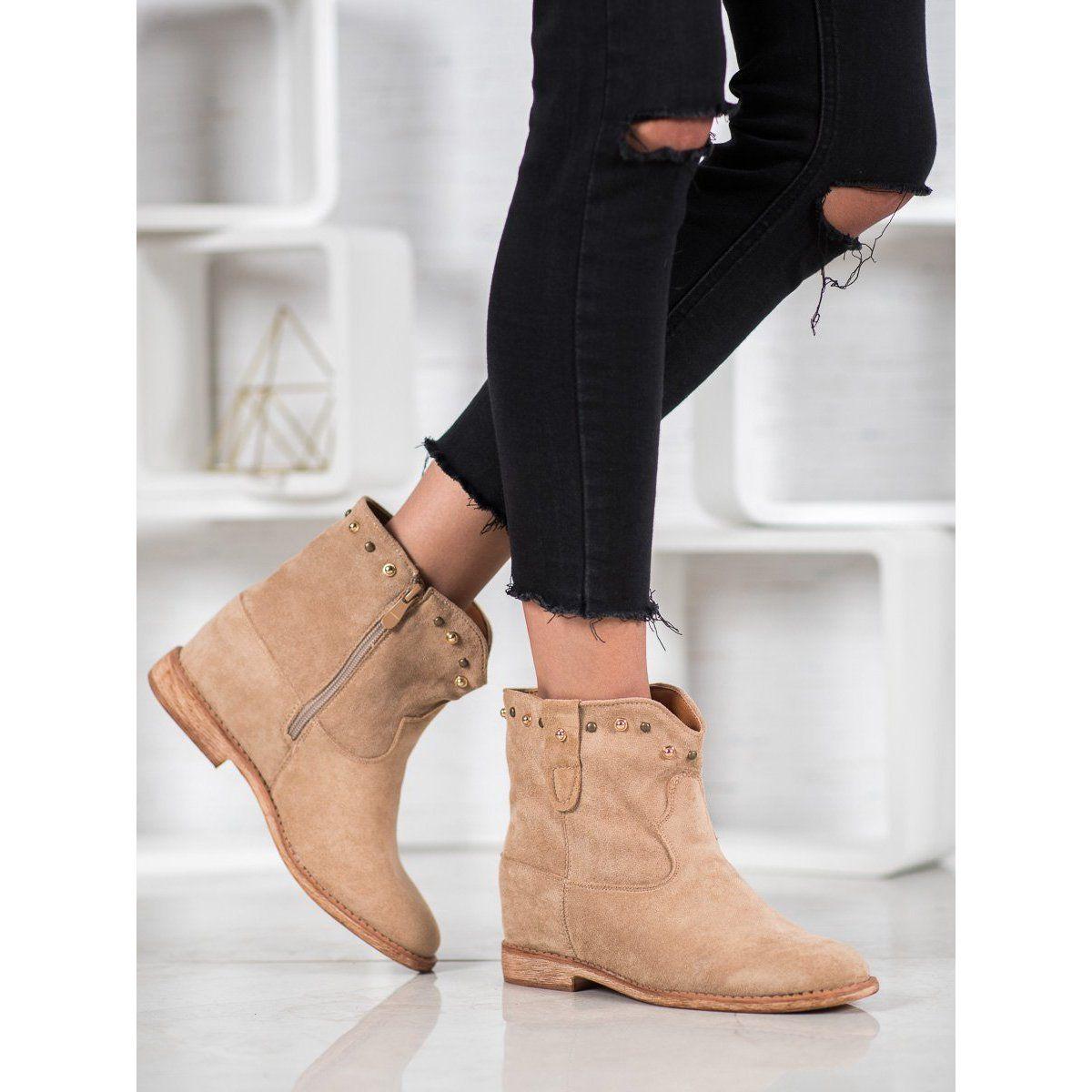 Bella Paris Zamszowe Botki Z Dzetami Wielokolorowe Boots Boot Shoes Women Shoe Boots
