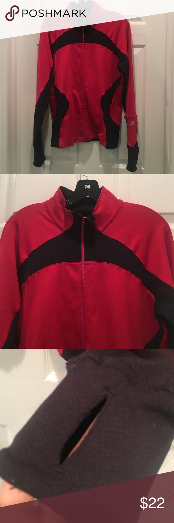 Women's Red & Black Adidas Jacket Size L Worn once Adidas Jackets & Coats