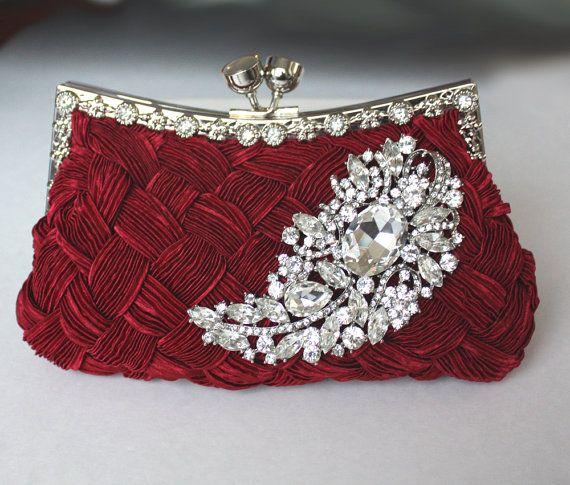 Bag Buy Burgundy Bridal Clutch