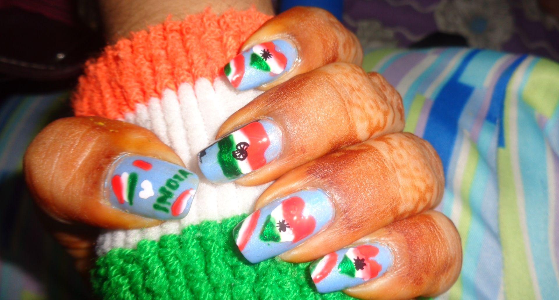 Independence day , tiranga nail art home made... | Nail art ...