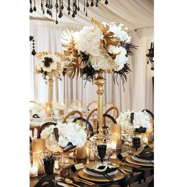 Black And Gold Wedding Decorations: A 1920's Great Gasby Inspired Black, White & Gold Wedding
