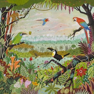 Alain Thomas Jungle D Amazonie Peinture Naive Art De La
