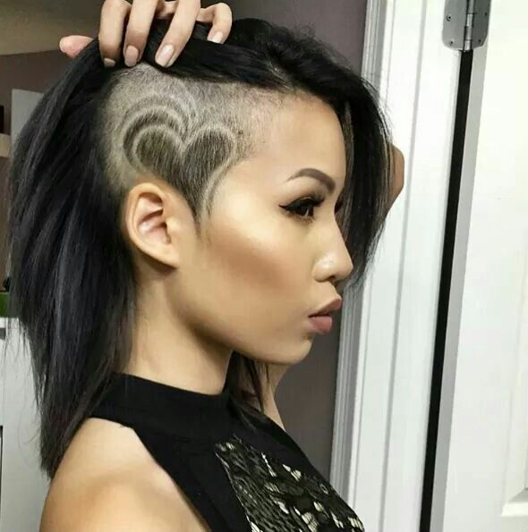 Astonishing Cute Shaved Heart Half Shaved Head Hairstyle Half Shaved Natural Hairstyles Runnerswayorg