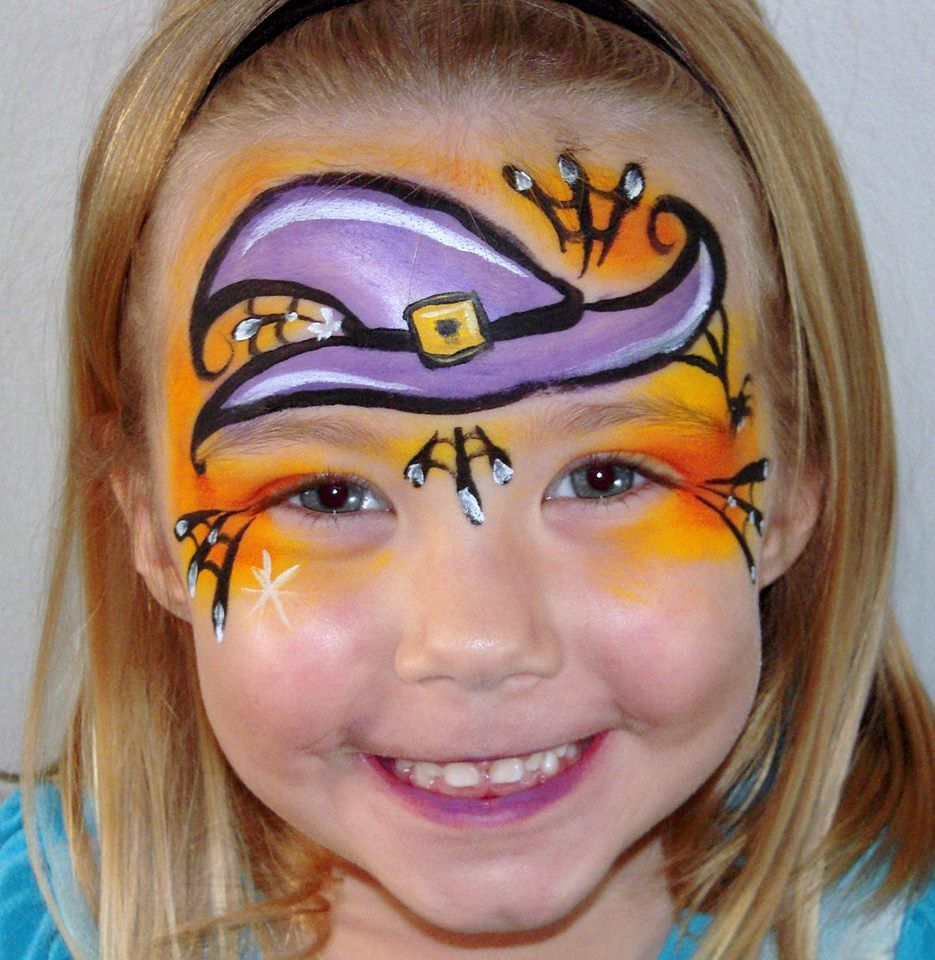 Halloween face painting Witch hat design | Witch face paint