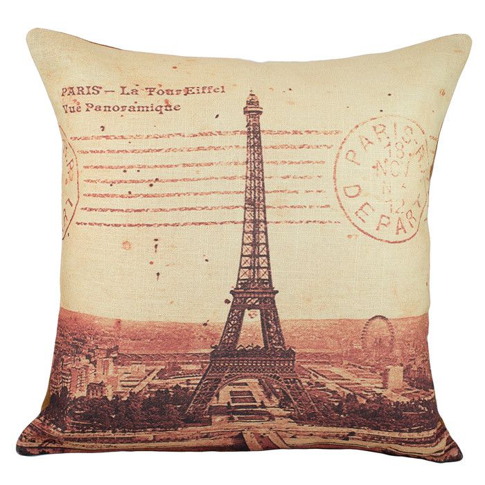 Eiffel Tower Pillow Cotton Throw Pillow Throw Pillows Pillows