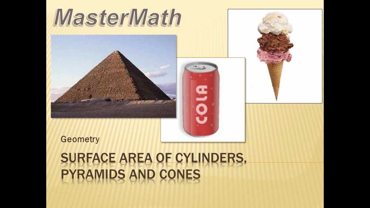 Geometry - Surface Area of Cylinders, Pyramids and Cones.7th grade math