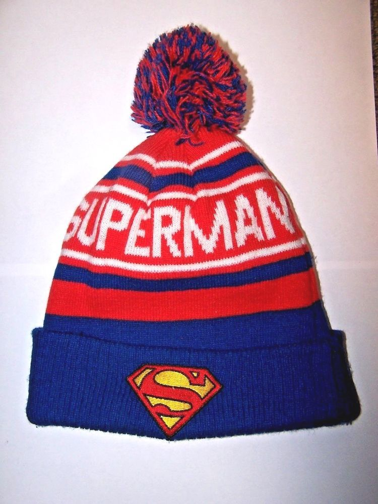 0e60fa3ecaf Mens Superman Winter Orange Blue Knit Pom Pom Ski Hat  fashion  clothing   shoes  accessories  mensaccessories  hats (ebay link)