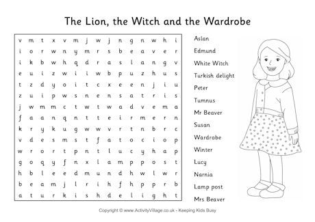 The Lion The Witch And The Wardrobe Word Search