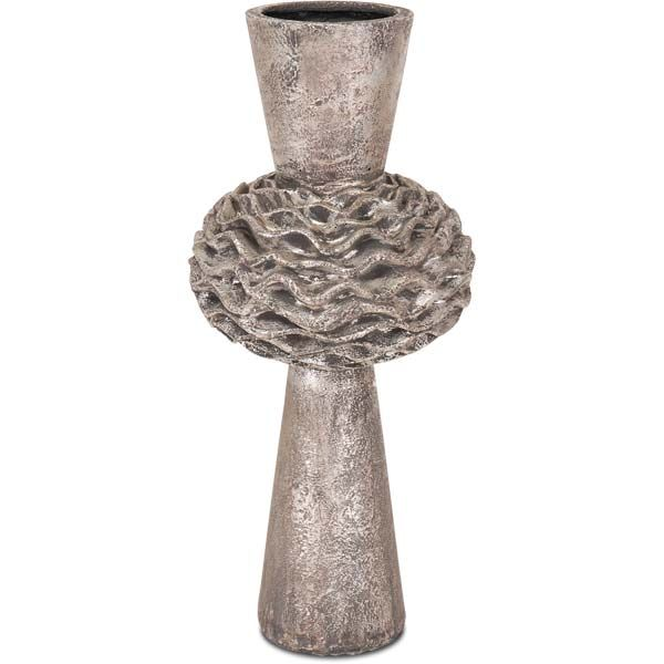 "Mercana metallic finish vase with rippled center Size: 11"" x 24"" x 11"" SOLD OUT www.lambertpaint.com"
