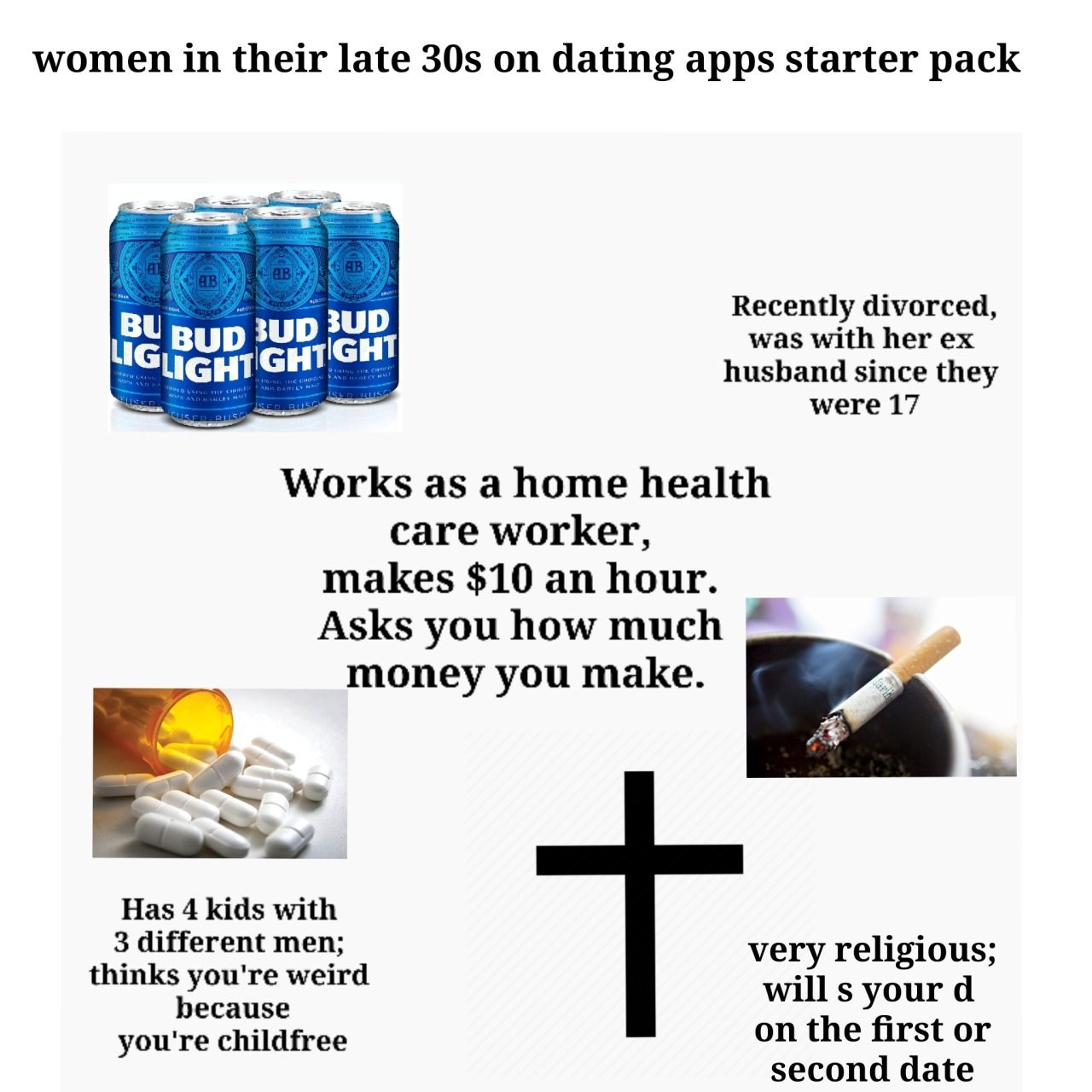 Women In Their Late 30s On Dating Apps Starter Pack Home Health Care Dating Apps Ex Husbands