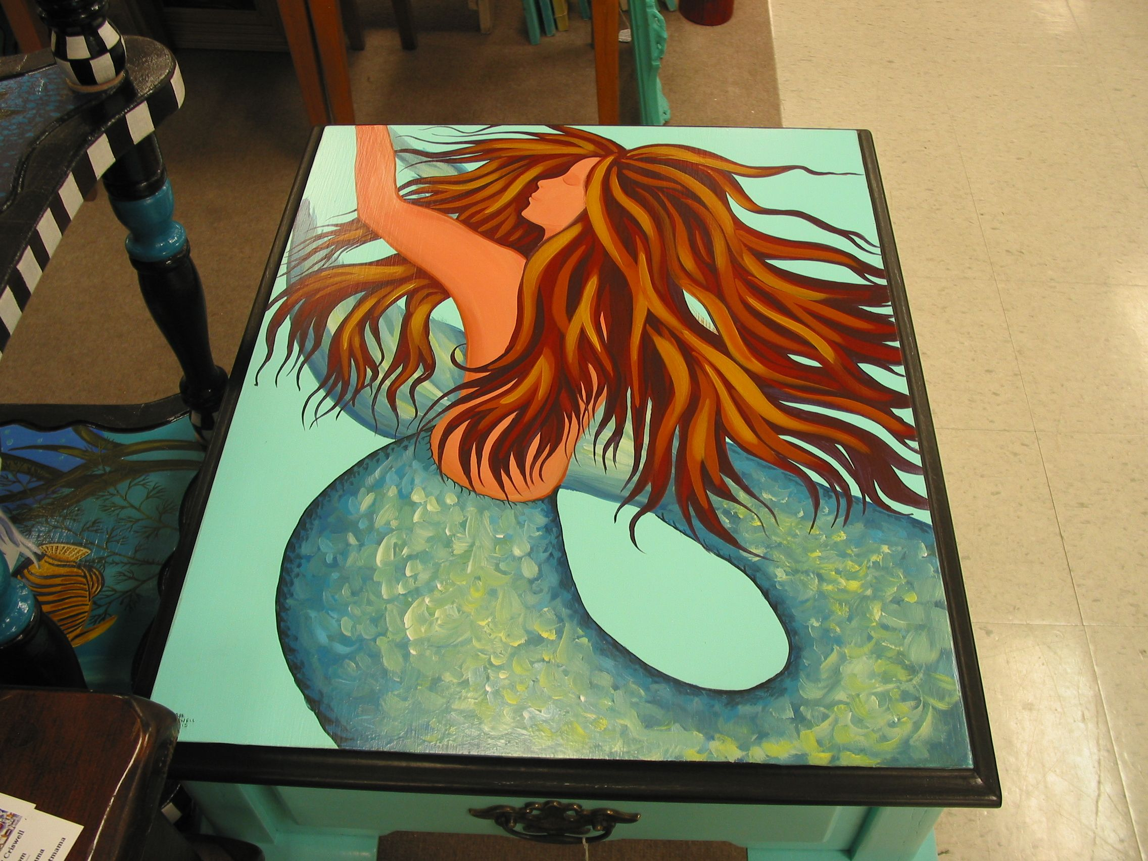 hand painted mermaid table for sale today at treasure trove hudson f folkartmama beach. Black Bedroom Furniture Sets. Home Design Ideas