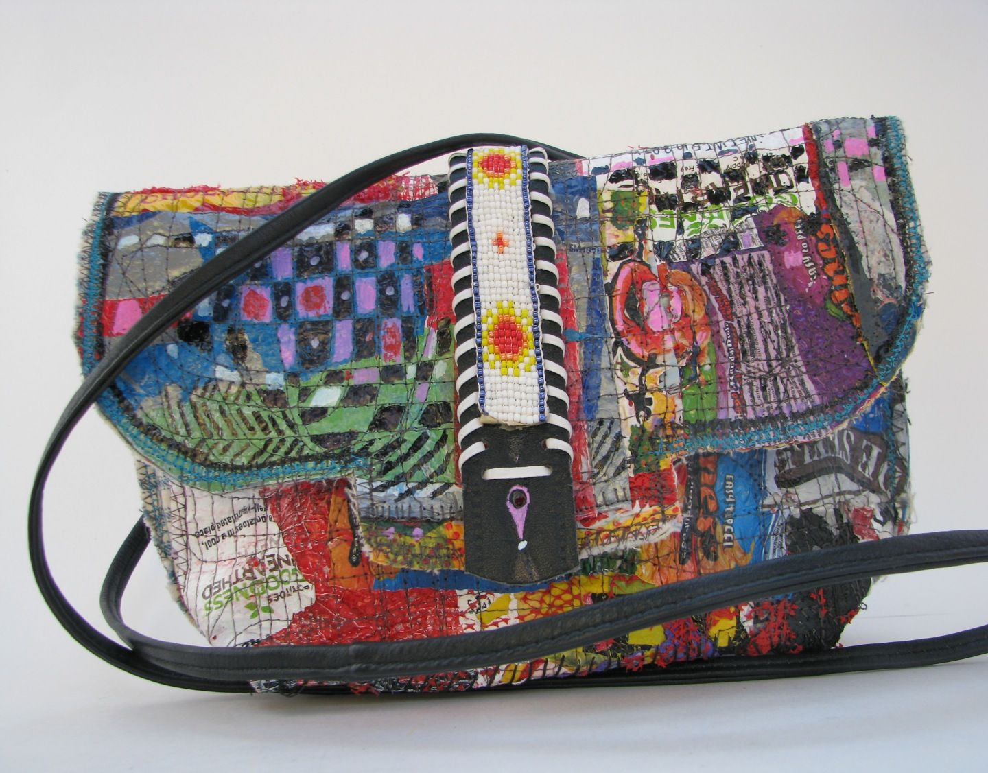 42a07b7d4 Boho, upcycled bag is made with fused recycled plastic bags, vintage beaded  belt, & scrap fabric