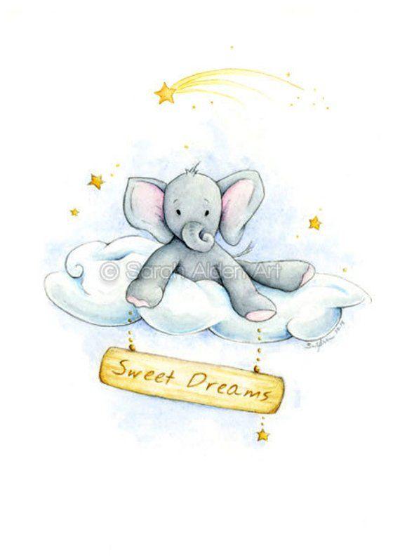 Elephant Print Sweet Dreams Nursery Art Gray
