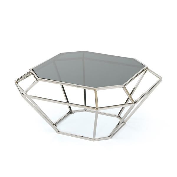 Decatur Coffee Table in Polished Nickel with Glass Top