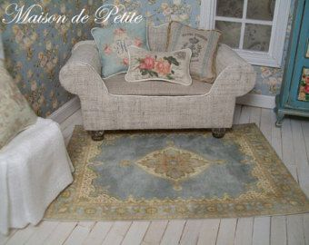 Romantic, traditional French Aubusson style 1:12 Scale Dollhouse Miniature Handmade Vintage-style Shabby Chic Rug - French Blue - lg